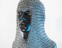 Costume, Viking helmet with chain mail in a black mannequin on w Stock Photography