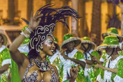 Costumed Attractive Black Woman Dancer at Carnival Parade of Uru Stock Photos
