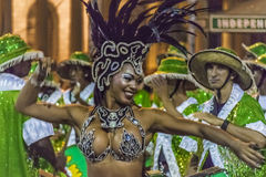 Costumed Attractive Black Woman Dancer at Carnival Parade of Uru Royalty Free Stock Photography