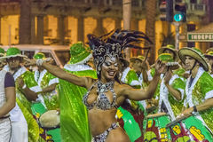 Costumed Attractive Black Woman Dancer at Carnival Parade of Uru Royalty Free Stock Image