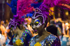 Costumed Attractive Dancer Woman at Carnival Parade of Uruguay Stock Images