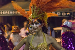 Costumed Attractive Dancer Woman at Carnival Parade of Uruguay Stock Image