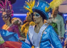 Costumed Attractive Dancer Women at Carnival Parade of Uruguay Royalty Free Stock Images