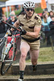 Costumed Bicycle Racer Stock Photography