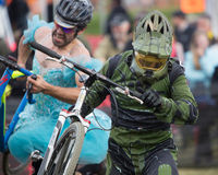 Costumed Bicycle Racer - Halo Royalty Free Stock Images