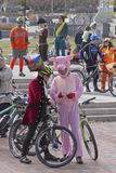 Costumed Bicyclists Royalty Free Stock Images