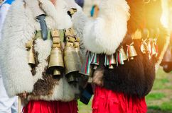 Costumed Bulgarian men Kuker stock photography