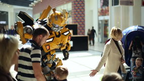 Costumed character robot. Photo session with the visitors of the shopping center on April 09, 2016 in Samara/Samara region/Samara