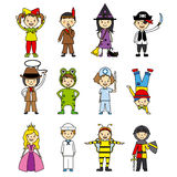 Costumed children set Stock Images
