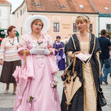 Costumed entertainers on the streets of Varazdin Stock Image