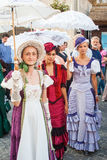 Costumed entertainers on the streets of Varazdin. During Spancirfest festival. It is street festival held every year since 1999 and lasts for 10 days, hosting Royalty Free Stock Photo