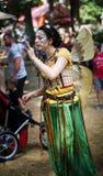 Costumed Girl Blowing Bubbles Renaissance Festival Stock Images