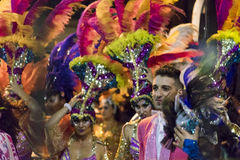Costumed Group at Carnival Parade of Uruguay Royalty Free Stock Images