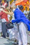Costumed Man Dancing Candombe at Carnival Parade of Uruguay Royalty Free Stock Photography