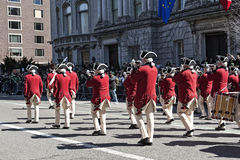 Costumed Marching in NYC St. Pat's Day Parade. Costumed Band marching in St. Patrick's Day Parade.  - Circa 2011 Royalty Free Stock Photos