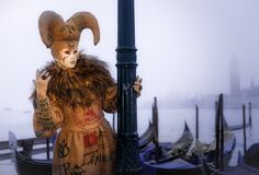 Costumed Masked Participant Carnival Venice Italy