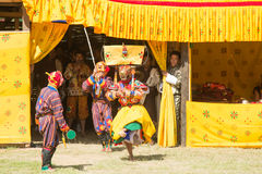 Costumed monk performs traditional dance in Tsechu festival at wangdi phodrang bhutan Royalty Free Stock Images