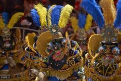 Costumed Morenada dancers at the Oruro Carnival in Bolivia Royalty Free Stock Photo