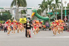 Costumed revelers march with floats in the annual Dream Parade o. N October 19, 2013, in Taipei, Taiwan Stock Image
