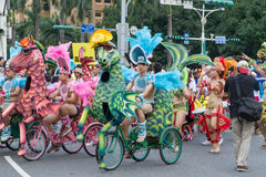 Costumed revelers march with floats in the annual Dream Parade o. N October 19, 2013, in Taipei, Taiwan Royalty Free Stock Image