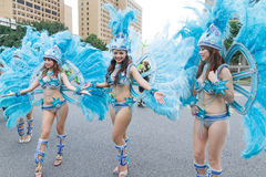 Costumed revelers march with floats in the annual Dream Parade o. N October 19, 2013, in Taipei, Taiwan Royalty Free Stock Photo