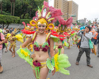 Costumed revelers march with floats in the annual Dream Parade o Royalty Free Stock Photo