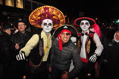 Costumed skeletons at 2015 Zombie Crawl and Parade, Toronto, Ontario, Canada. Costumed skeletons and participants in 2015 Zombie Crawl and Parade on Church Royalty Free Stock Image