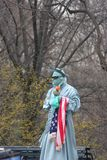 A costumed Statue of Liberty at Central Park NYC. royalty free stock images
