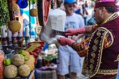 Costumed vendors  ice cream i Royalty Free Stock Photo