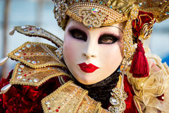 Costumed woman during venetian carnival, Venice, Italy Royalty Free Stock Photo