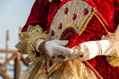 Costumed woman during venetian carnival, Venice, Italy Stock Photography