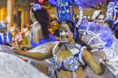 Costumed Young Woman Dancer at Carnival Parade of Uruguay Stock Photo