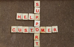Costumer support. Costumer service arrange in scrabble with wood backround royalty free stock images