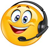 Costumer support emoticon. With headset royalty free illustration