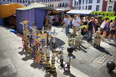 Costumers close to tents of traditional arabic pottery Royalty Free Stock Photos