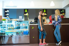 Costumers in a coffee shop Stock Photos