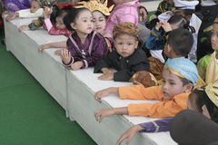 COSTUMES CHILDREN IN DAY CELEBRATION KARTINI Royalty Free Stock Images