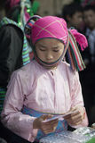 Costumes of ethnic minority girl, at old Van market Royalty Free Stock Images