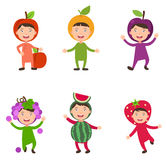 Costumes fruit kids vector Stock Image