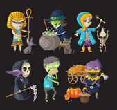 Costumes and haloween characters. Costumes and traditional haloween characters royalty free illustration