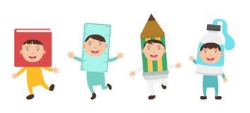 Costumes i bambini dei rifornimenti di scuola illustrazione vettoriale