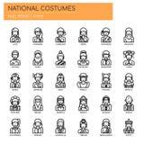 Costumes nationaux, icônes parfaites de pixel illustration de vecteur