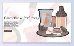 Costumes and Perfumery web design vector illustration. Cosmetic products such as lipstick, eye shadows, eyeliner, nail royalty free illustration