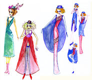 Costumes for witches sketch Stock Image