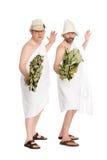 Costumi da bagno degli uomini nelle pose allegre Immagini Stock Libere da Diritti