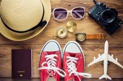 Costumi degli accessori di viaggio I passaporti, il costo del viaggio hanno preparato per il viaggio Fotografia Stock
