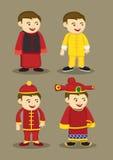 Costumi ed accessori del cinese tradizionale per il vettore Illu degli uomini illustrazione di stock