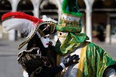 Costumi veneziani di carnevale Fotografia Stock