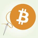 Costura de la moneda de Bitcoin Imágenes de archivo libres de regalías