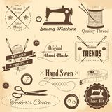 Costura del estilo del vintage y etiqueta del sastre Imagen de archivo